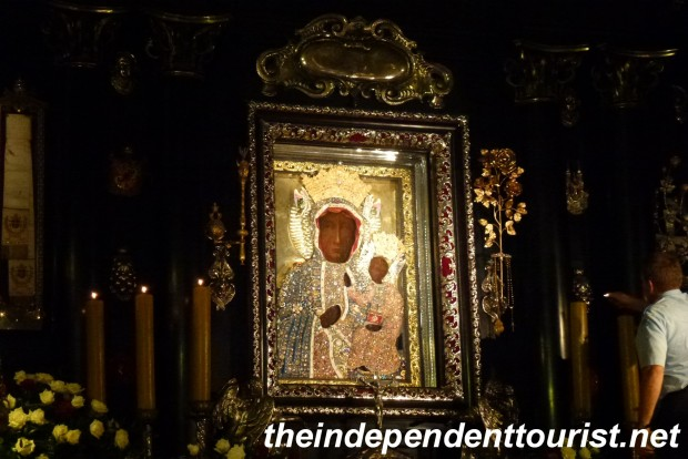 The Black Madonna painting. It's apparently black from centuries of soot. No one really knows for sure of its origin, but it is credited with saving the town during the Swedish aggression in the 1600's.