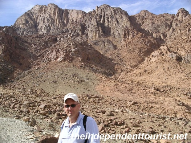 On the trail with Mount Sinai behind me - about halfway up.