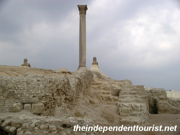 Pompey's Pillar and the surrounding ruins of the Serapeum.