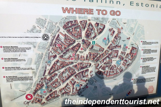 A large map of Tallinn Old Town greets cruise ship visitors.