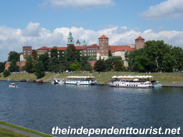 A view of Wawel Castle from the Vistula River.