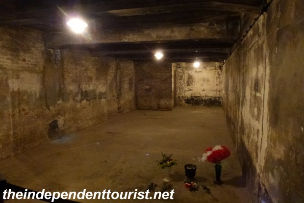 Originally an ammunition bunker, this room became a gas chamber during the years 1941 – 1943. Thousands were gassed here, some immediately upon their arrival, including Jews, Soviet POW's and some Polish prisoners as well.  Pellets of Zyklon B were dropped through the ceiling.