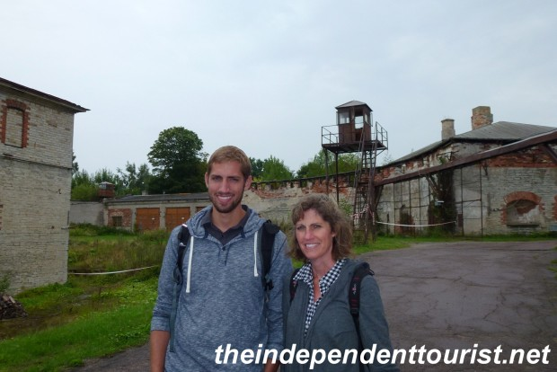 My wife and son near the entrance to Patarei Prison.