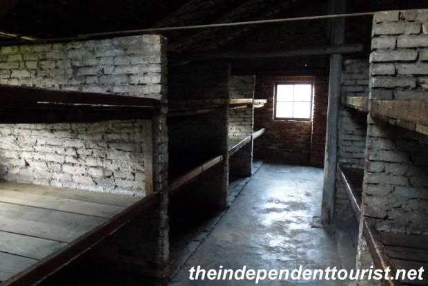 "Many women were housed in these brick barracks, with 8 prisoners to a ""shelf"" covered by rotting straw in a swampy area with no actual floor other than hardened dirt."