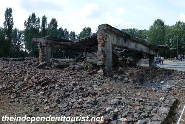The ruins of Crematoria II. The building was blown up by the Nazis to try to cover up its purpose.
