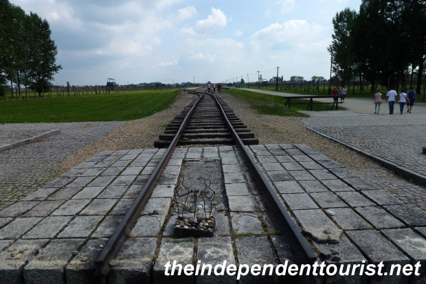 The literal end of the rail line, between Crematoria II and III. On this spot there is now the International Monument to the Camp Victims.
