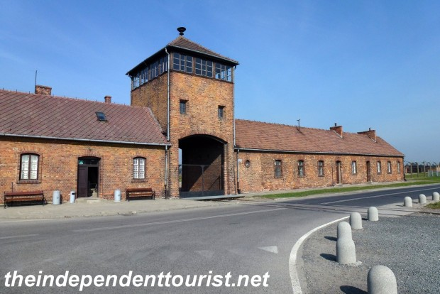 The main gate to Auschwitz-Birkenau. The trains full of Jews and others from across Europe would stop either outside this gate or pass through to unload their unfortunate passengers.