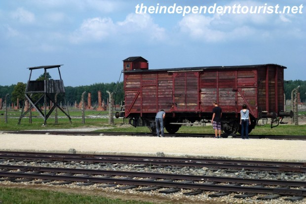 An example of a freight car that would bring the prisoners to the camp. The prisoners would unload at this spot after long and cramped journey, and after a quick examination, most would be herded to the gas chambers.