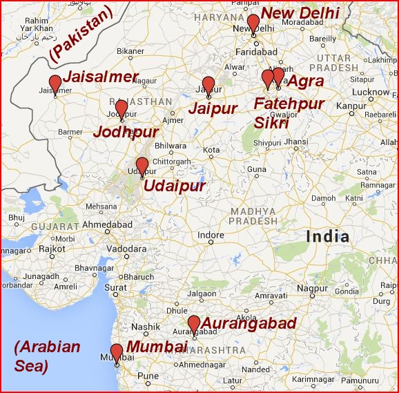 Our major destinations in India. We drove between the locations in the north, and then flew from Jodhpur to Mumbai and Aurangabad.