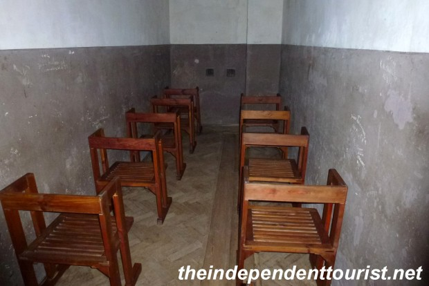 Prisoners would wait in these chairs for questioning, sometimes for days. They were not allowed to fall asleep, talk or move. If you violated the rules you might be beaten to death.