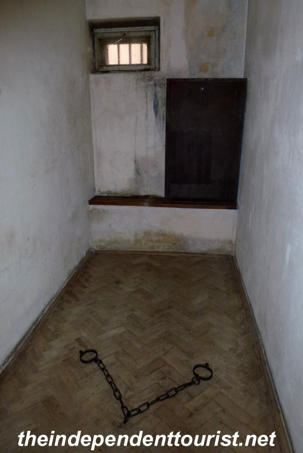 Prisoners were kept in cells like this (and chained as shown) and sometimes interrogated for weeks or months--often with little food, sometimes ill, often beaten and without a bed.