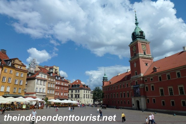 The Royal Palace (on the right) is at the entrance to Warsaw's Old Town. It has been reconstructed since World War II.