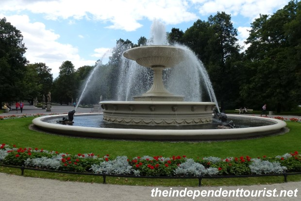 A fountain in the Saxon Gardens, Warsaw's first public park (early 18th century). The park is modeled on the gardens at Versailles, France.