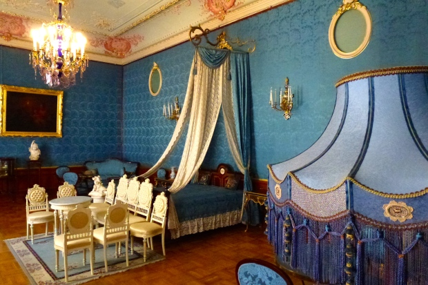 "Yusupov Palace (also known as Moika Palace) was one of 57 (yes, 57) palaces owned by the extremely wealthy Yusupov family, who were members of the Russian nobility. This is the ""Bedroom of the Princess"", one of many elaborately decorated rooms in this palace."