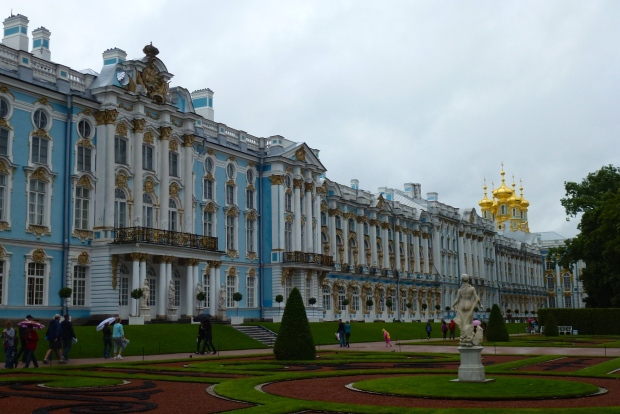 Exterior view of Catherine Palace, the summer residence of the Tsars. Constructed in the 1700's. It's located about 25 km from St. Petersburg.