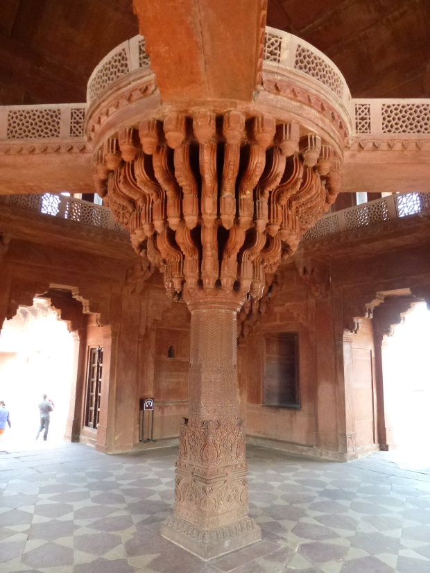 The Diwan-i-Khas (Hall of Private Audiences) with its magnificently carved central column. Akbar is believed to have stood on top of this column and debated with scholars and ministers who stood at the ends of the four bridges extending out from the center.