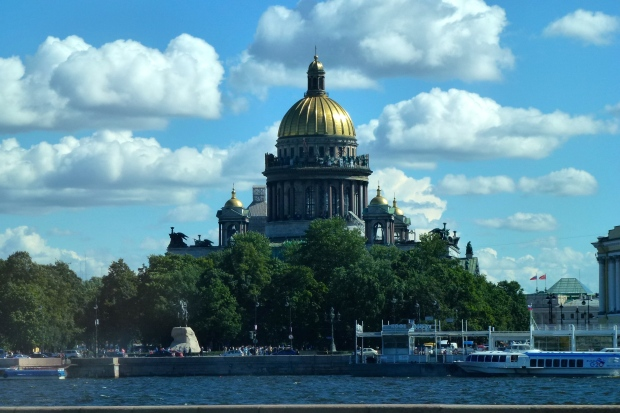The gold dome of St. Isaac's Cathedral is one of the largest in the world, covered with 220 lbs of gold. The cathedral was commissioned in 1818 and completed 30 years later.