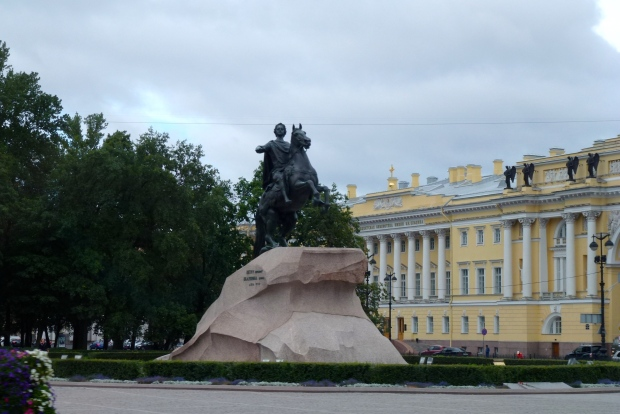 Our tour host drove us around various other locations in St. Petersburg, including this monument and government building where the G20 summit was hosted by President Putin in 2013.