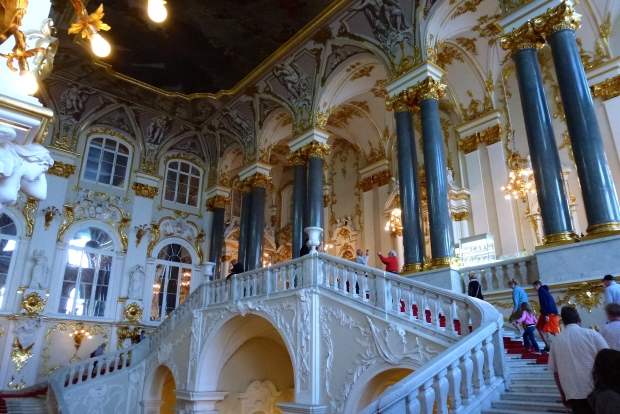 The beautiful staircase in the Hermitage Museum. The Hermitage was the winter palace of the Tsars. The Museum contains art works that rival any other museum in the world.