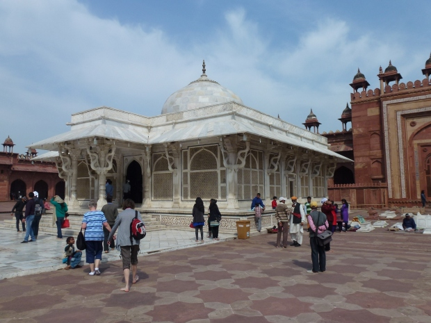 The white marble tomb of Shaikh Salim Chishti. You can visit the perimeter and gaze inside.