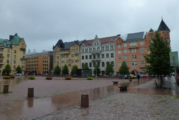 A view of a Swedish-influenced street in Helsinki.