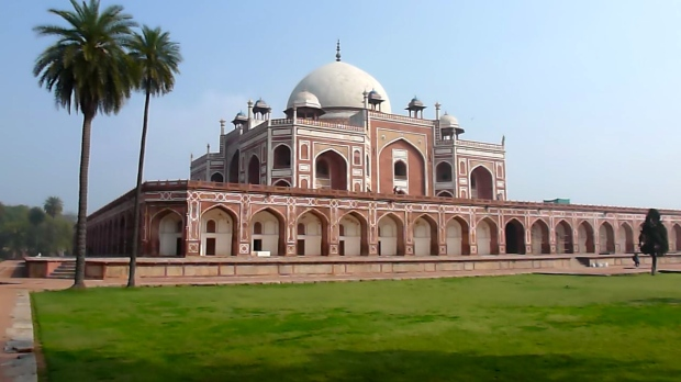 Humayun's Tomb. The symmetry and structure are similar to the Taj Mahal.