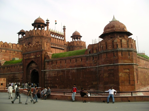 The massive walls and western entrance into the Red Fort.