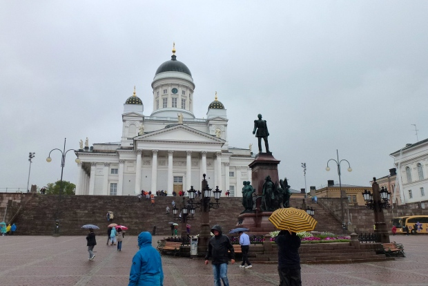 Helsinki Cathedral overlooks Senate Square. The statue is Emperor Alexander II, unveiled in 1894.