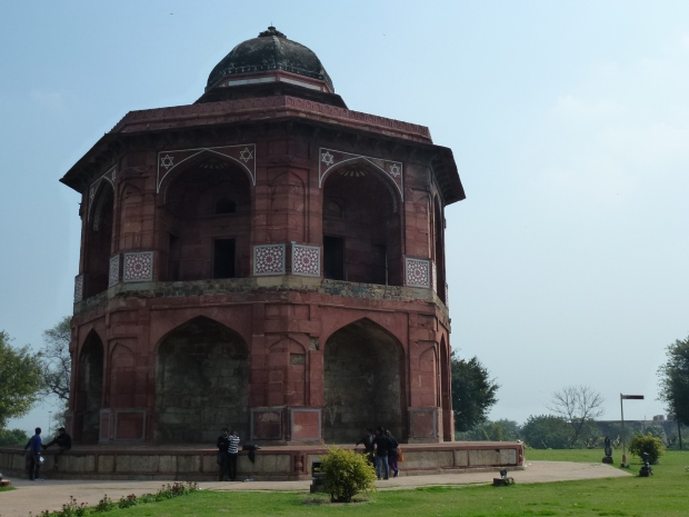 The Sher Mendal in Purana Qila. Humayun used this building as a library. In 1556, he heard the call to prayer, and in a hurry, he fell and sustained major injuries while on his way down the stairs. He died 3 days later.