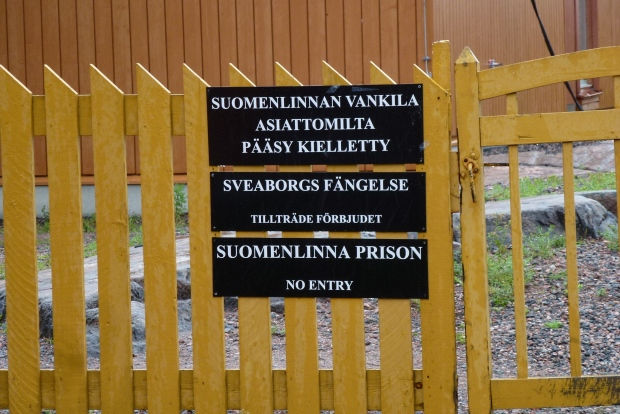 A sign saying tourists are not welcome at the prison labor camp in the fortress!