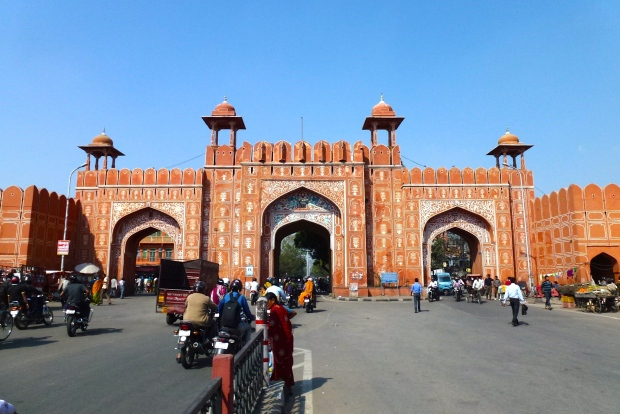 Ajmeri Gate, leading into central Jaipur. The color of the gates and walls, as well as buildings in the central area give the city its nickname.