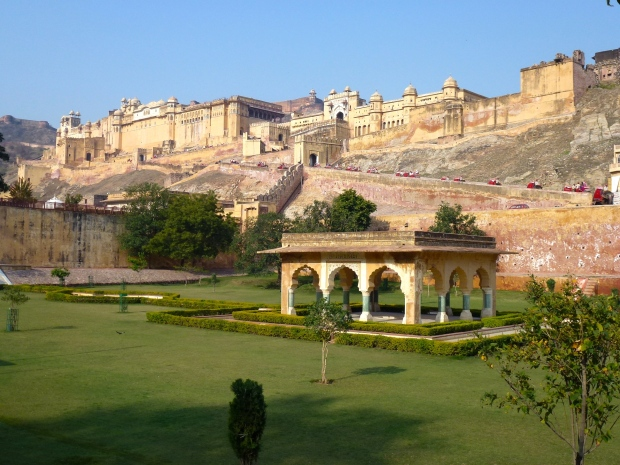 A view of Amber Fort. If you look closely, you can see the elephants with their red coverings making their way up to the gate.