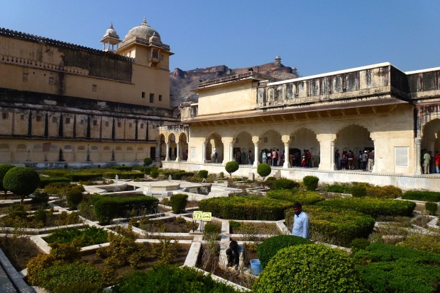 Another beautiful courtyard in Amber Fort (Jaigarh Fort is in the distance on the hill).