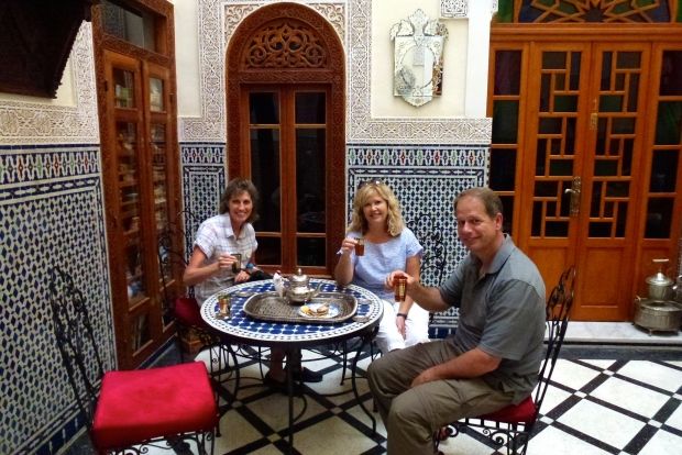 The tea and biscuit welcome at our Riad in Fez.