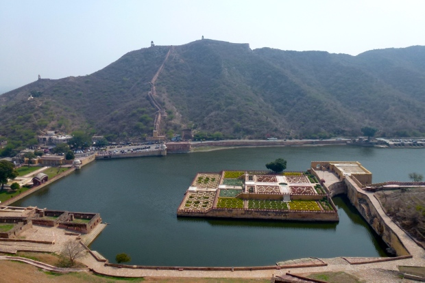 Looking down on Maota Lake, with the gardens of Kesar Kyari Bagh. The lake provided water for the fort. The walls protecting the region can be seen in the distance.