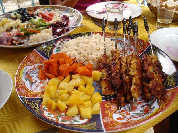 Typical Moroccan meal - the food is generally very good.