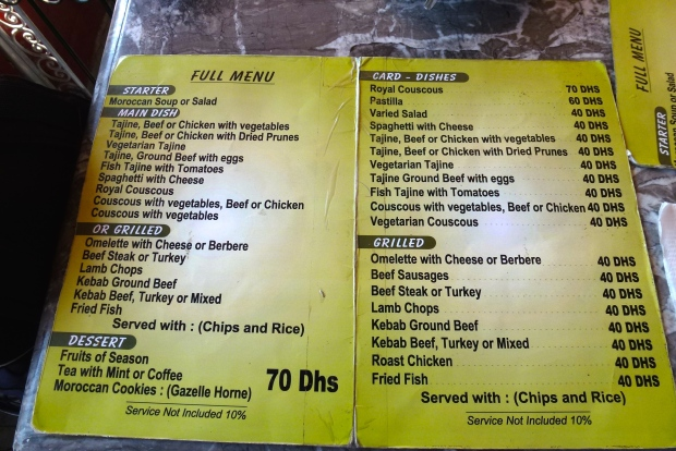 Typical Moroccan menu.