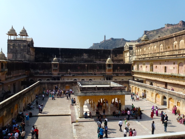The courtyard of the Palace of the Raja Man Singh, one of the four main sections of the Amber Fort.