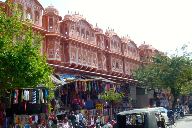 Rows of shops in the central district of Jaipur.