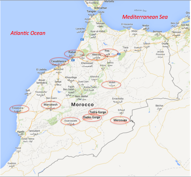 Locations we visited in Morocco are highlighted. We flew in and out of Casablanca.
