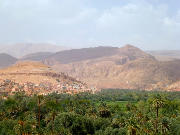 The stark contrast of the green palms with the dry mountains near Todra Gorge.