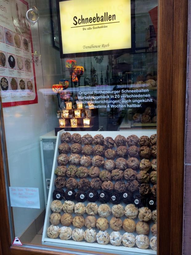 Tasty schneeballen (snowballs), a German pastry.