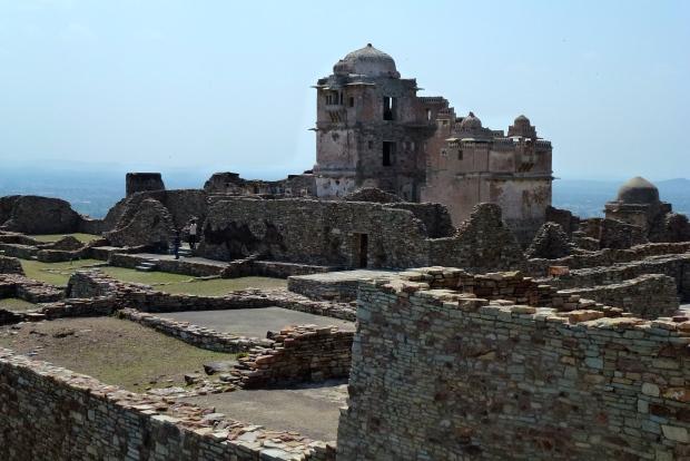 A view of the ruins of 15th century Rana Kumbha Palace.