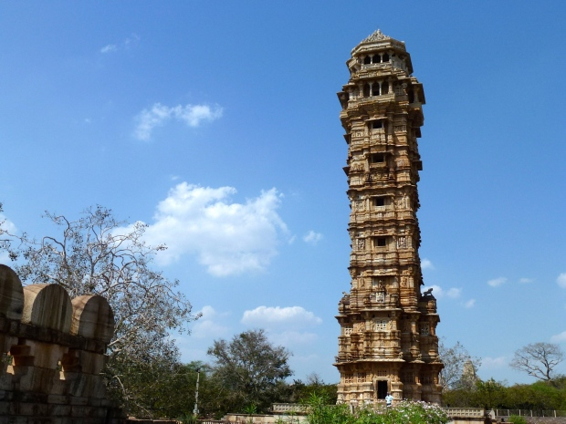 The Tower of Victory (Jaya Stambha), built in the 1400's. Dedicated to the Hindu god Vishnu. You can climb the tower for a good view of the whole area.