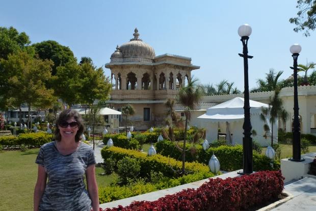 The beautiful gardens on Jagmandir Island in Lake Pichola.