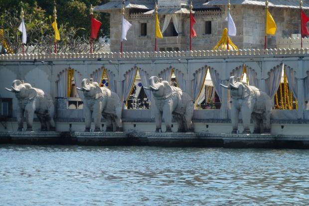 The elephant statues greet you as you arrive on Jagmandir island.