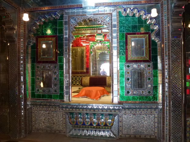 Colored mirror decor in City Palace.
