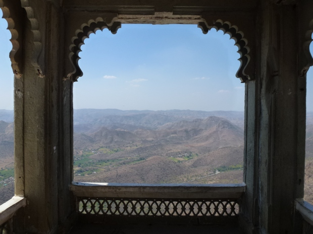 A view looking west from the upper floor balcony of the Monsoon Palace.
