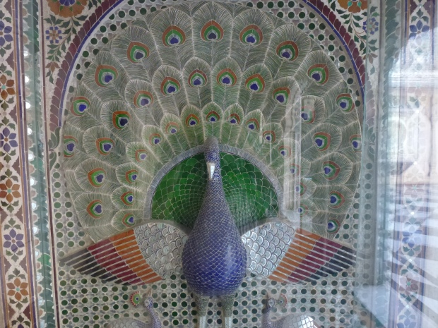 The peacock - symbol of Rajasthan. The feathers are all inlaid colored stone.