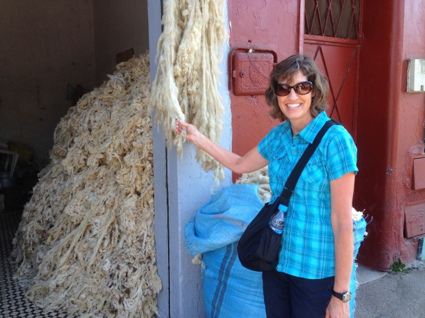 A lot of wool stacked in a storage area in the medina.